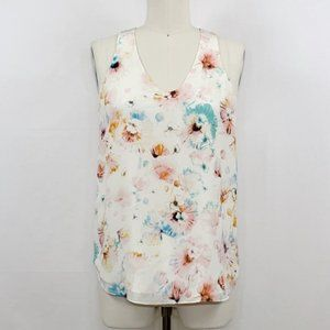 Rebecca Taylor Floral Silk Lined Tank Top Sz 2